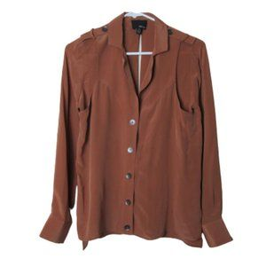 Greylin 100% silk brown button front keyhole shirt